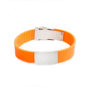 Brazalete Elite ID De Silicona Naranja Con Placa De Metal 240*18mm