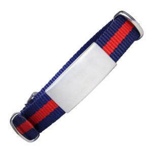 ID De Emergencia Con Correa En Nylon Tipo Reloj Con Diseño Tipo Militar Azul Con Raya Roja 240*14