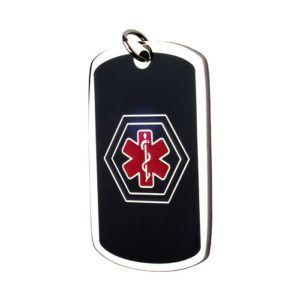 Medalla colgante Dog Tag ID acero negra símbolo medico azul y rojo 26*43 mm