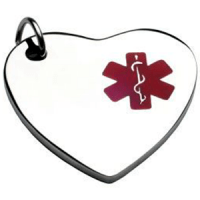 Medalla placa corazón colgante  ID en acero  con símbolo medico rojo 26*28 mm