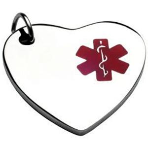 ID Medalla Corazón En Acero  Con Símbolo Medico Rojo 26*28 Mmy Tipo Charm 13*14mm