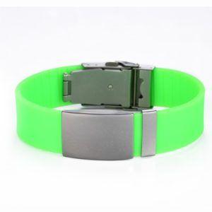 Brazalete ID silicona ajustable verde con pasador de 120 a 240 mm
