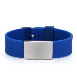 Brazalete ID silicona tipo reloj azul liso de 120 a 220 mm