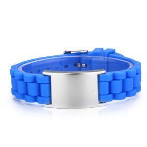Brazalete ID rizado silicona azul tipo reloj de 145 a 220 mm
