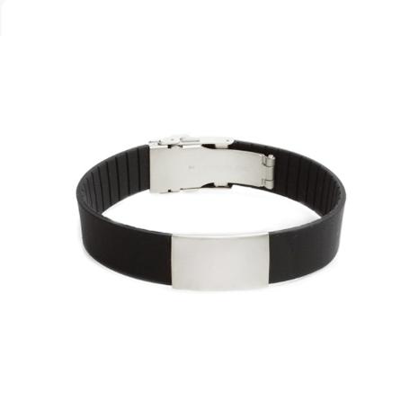 Brazalete Elite ID de silicona negra con placa de metal 240*18mm