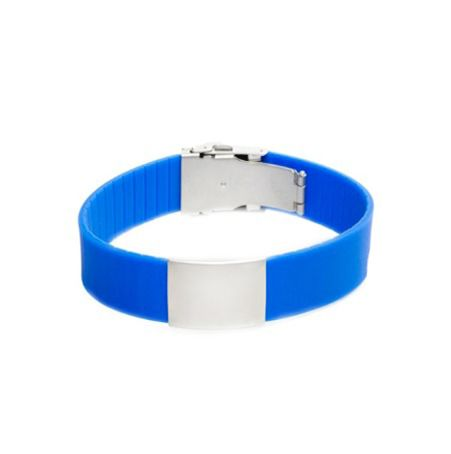 Brazalete Elite ID de silicona azul con placa de metal 240*18mm