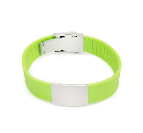 Brazalete Elite ID de silicona verde con placa de metal 240*18mm