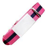 ID de emergencia con correa en nylon tipo reloj con diseño tipo militar rosa con raya negra 240*18