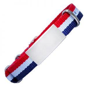 ID De Emergencia Con Correa En Nylon Tipo Reloj Con Diseño Tipo Militar Roja Blanca Y Azul 240*14