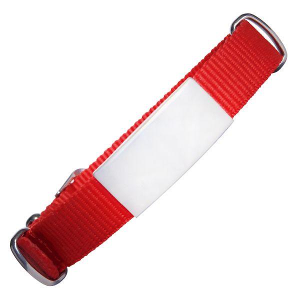 ID de emergencia con correa en nylon tipo reloj con diseño tipo militar roja 240*18