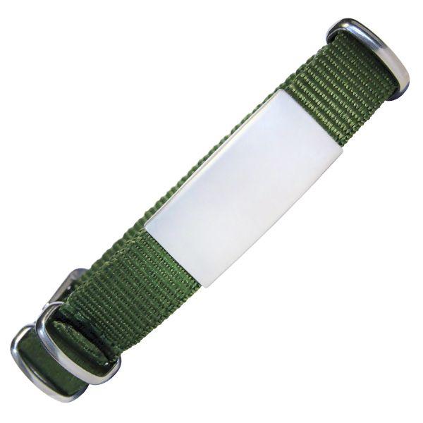 ID de emergencia con correa en nylon tipo reloj con diseño tipo militar oliva 240*18