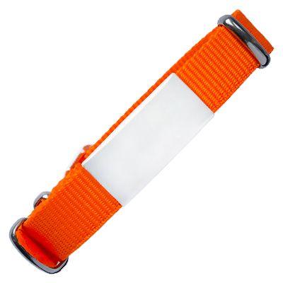 ID de emergencia con correa en nylon tipo reloj con diseño tipo militar naranja 240*14