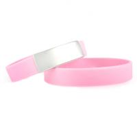 Brazalete Slim ID de silicona rosa con placa de metal 45*13mm