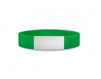 Brazalete Slim ID de silicona verde con placa de metal 45*13mm