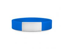 Brazalete Slim ID de silicona azul con placa de metal 45*13mm