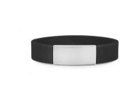 Brazalete Slim ID de silicona negra con placa de metal 45*13mm