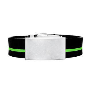 Brazalete ID silicona ajustable negro raya verde de 120 a 240 mm