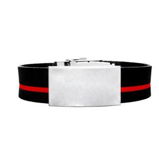 Brazalete ID silicona ajustable negro raya roja de 120 a 240 mm