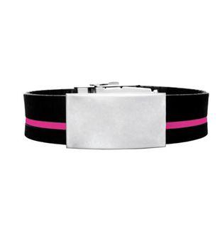 Brazalete ID silicona ajustable negro raya rosada de 120 a 240 mm
