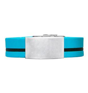 Brazalete ID silicona ajustable azul raya negra de 120 a 240 mm