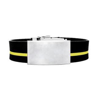 Brazalete ID silicona ajustable negro raya amarilla de 120 a 240 mm