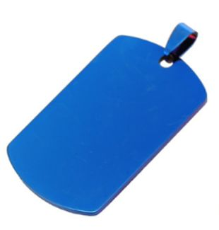 Medalla colgante Dog Tag ID acero color azul 22*40 mm