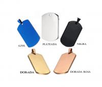 ID Dog Tag en acero color plateado y otros colores varios tamaños  36*22mm - 45*25mm - 50*28mm