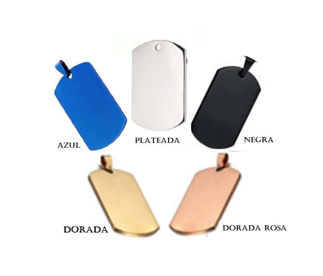 ID Dog Tag En Acero Color Plateado Y Otros Colores Varios Tamaños  36*22mm – 45*25mm – 50*28mm