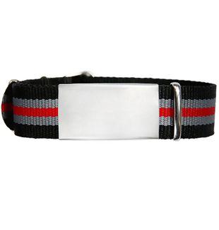 ID de emergencia con correa en nylon tipo reloj con diseño tipo militar negra gris y roja 240*14