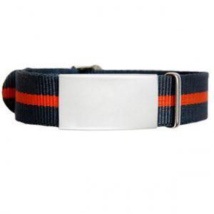 ID De Emergencia Con Correa En Nylon Tipo Reloj Con Diseño Tipo Militar Negra Con Raya Naranja 240*14