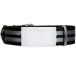 ID de emergencia con correa en nylon tipo reloj con diseño tipo militar negra y gris240*14
