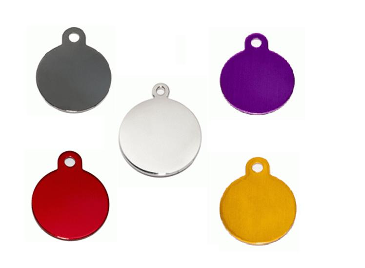 ID Circular En Aluminio  Plateado Y  Otros Colores  25*32 Mm
