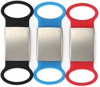 Placa de alerta para usar en  en zapato de cordon , zapatillas, pulsera, reloj ,otros -   a prueba de agua con  silicona  hipoalergica negra, azul, roja 15*65 mm