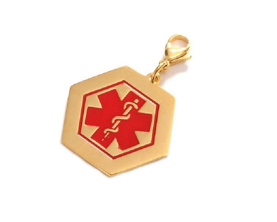 ID Medalla Acero Hexagonal Dorada Con Símbolo Medico – 39*35mm
