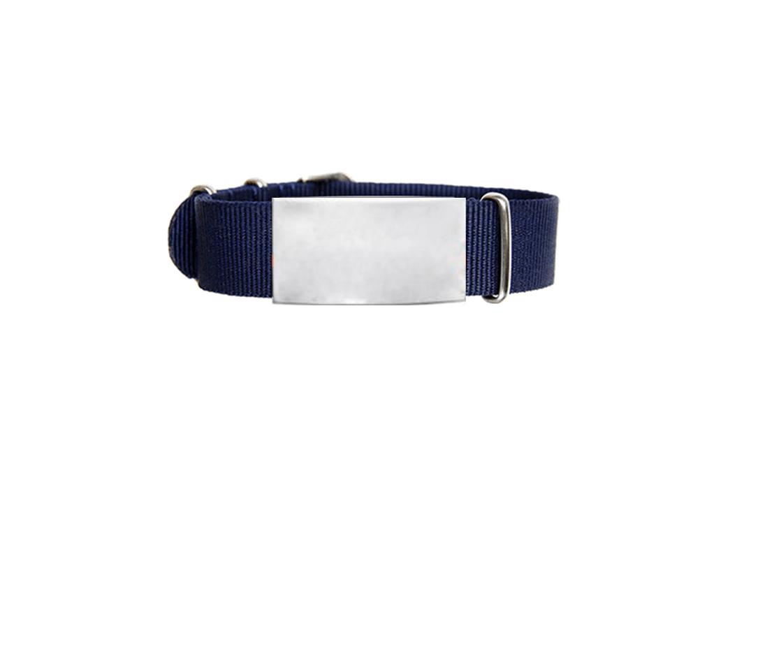ID De Emergencia Con Correa En Nylon Tipo Reloj Con Diseño Tipo Militar Azul 245 Mm