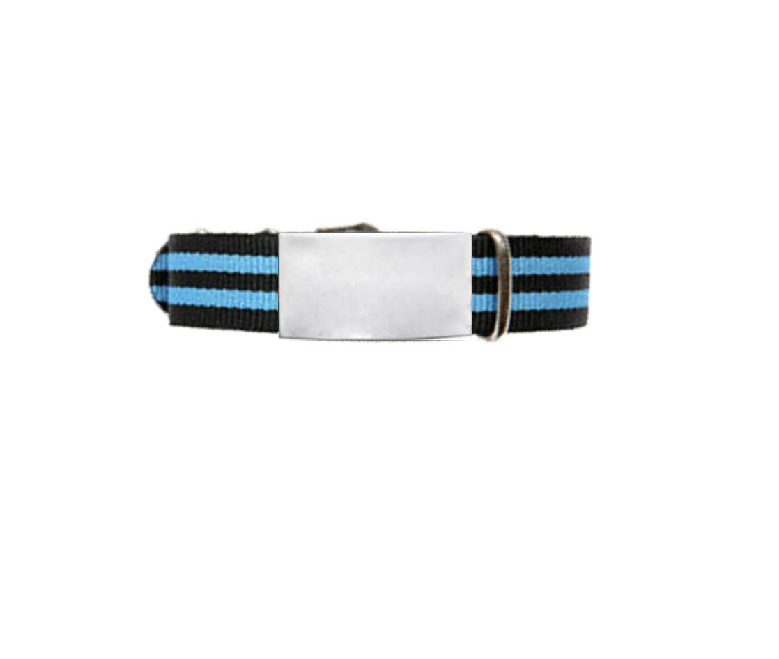 ID De Emergencia Con Correa En Nylon Tipo Reloj Con Diseño Tipo Militar Negra Con Doble Raya Azul 245 Mm Ancho 14mm -18mm